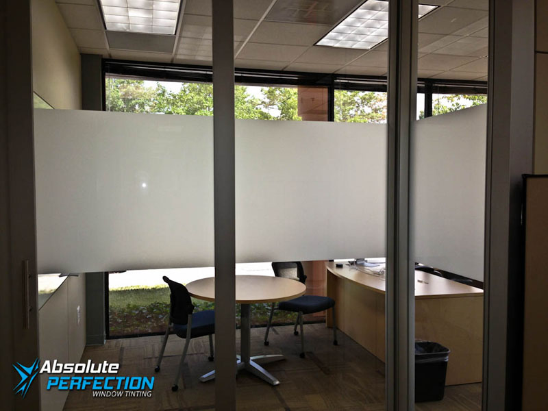 Commercial Frosted Window Film by Absolute Perfection Tinting Maryland