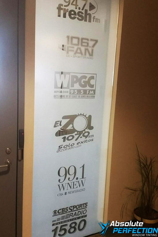 Radio Show Custom Frosted Window Film - Absolute Perfection Window Tinting - Baltimore