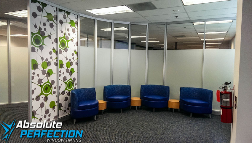 Commercial Frosted Window Film by Absolute Perfection Tinting Baltimore, Maryland