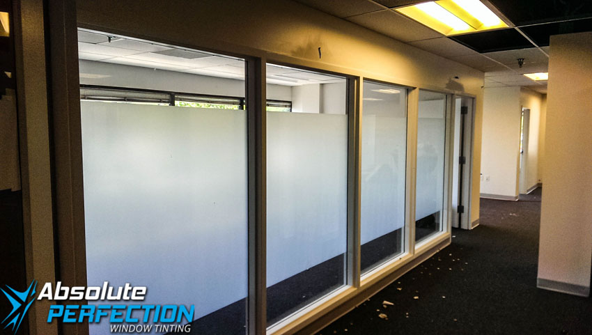 Commercial Frosted Window Film by Absolute Perfection Tinting Sykesville, Maryland