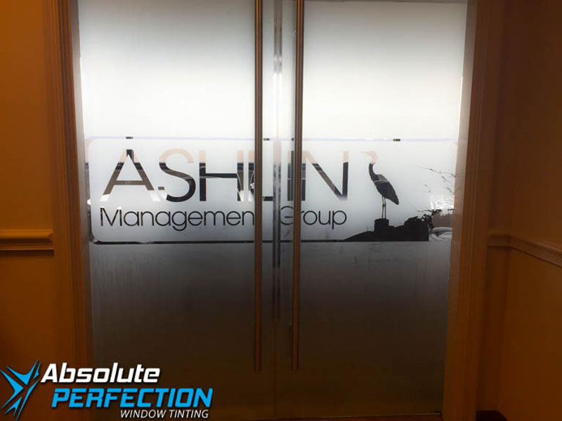 Custom Frost Logo and Lettering Design by Absolute Perfection Tinting Greenbelt, Maryland
