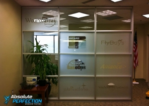 Custom Frosted Logos and Lettering by Absolute Perfection Tinting Maryland