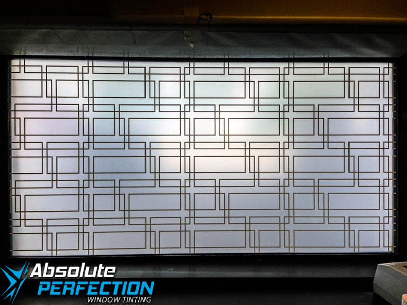 Custom Frosted Window Design for Business by Absolute Perfection Tinting