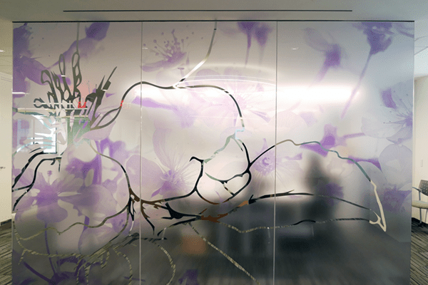 custom printed uv film on commercial glass wall