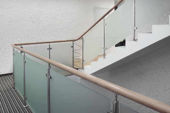 frosted glass stairs in commercial building