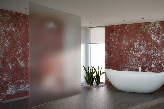 frosted glass window in bathroom